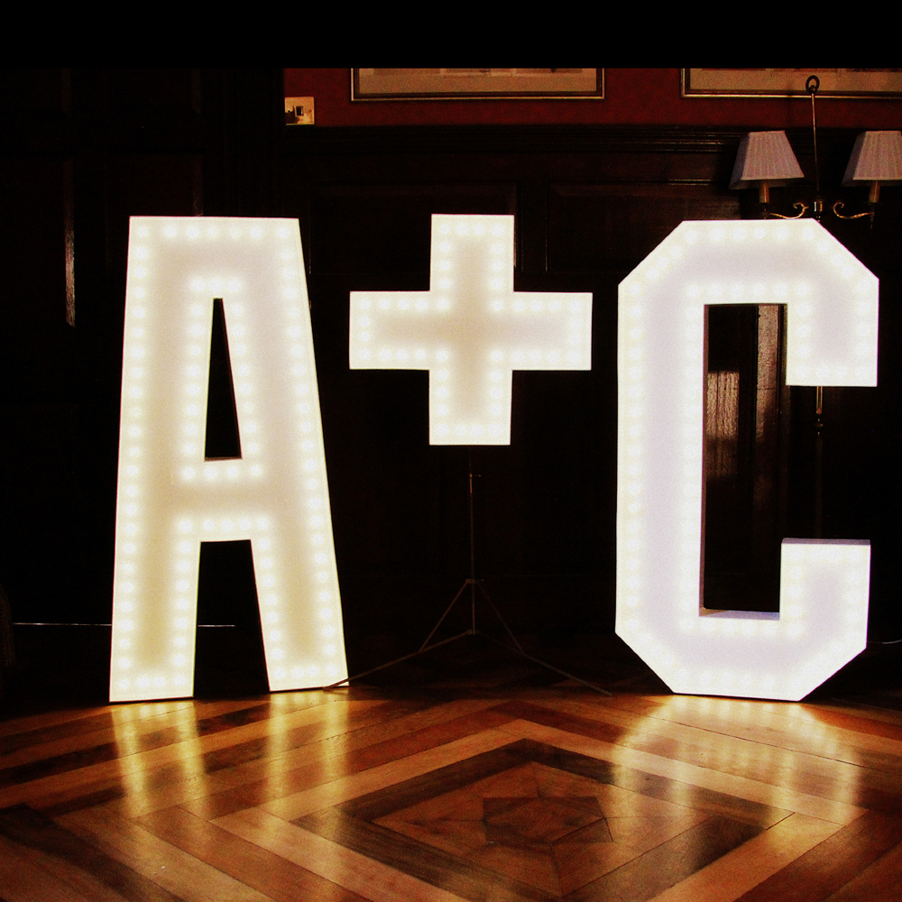 giant A and C letters in lights